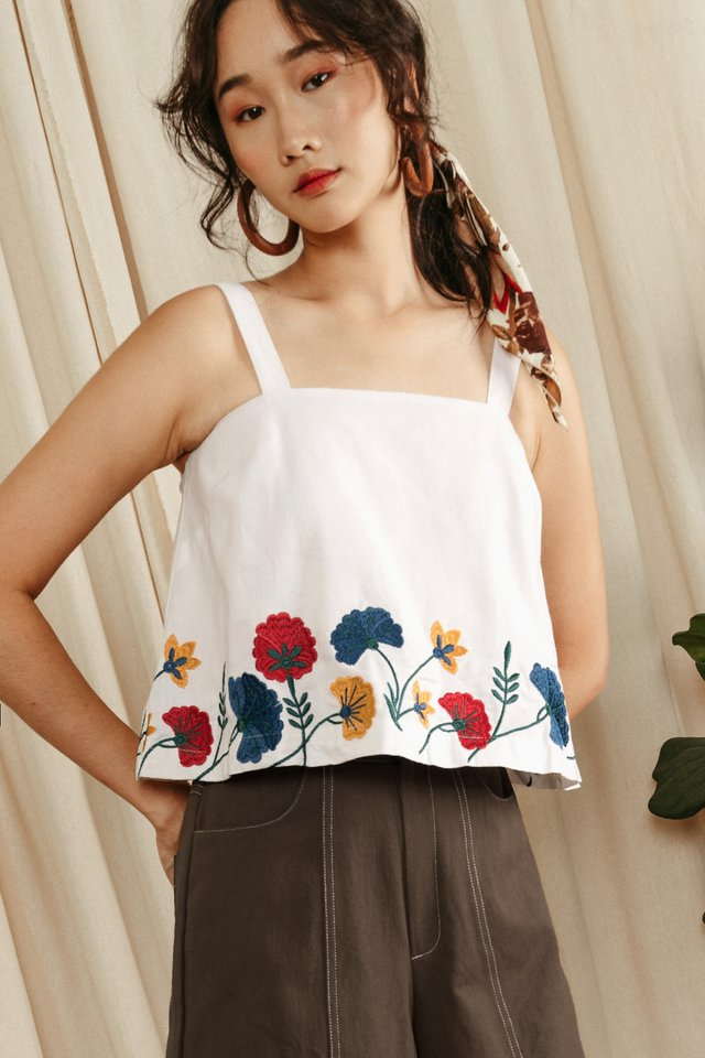 *RESTOCKED* CLAIRA EMBROIDERY TOP IN WHITE