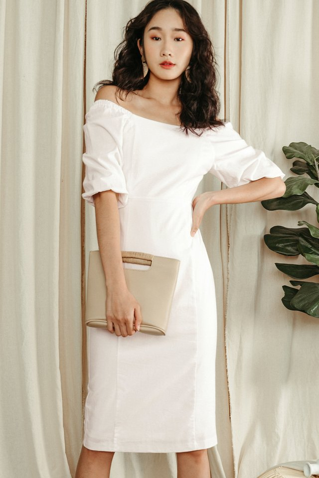 ISSA SHEATH MIDI IN WHITE