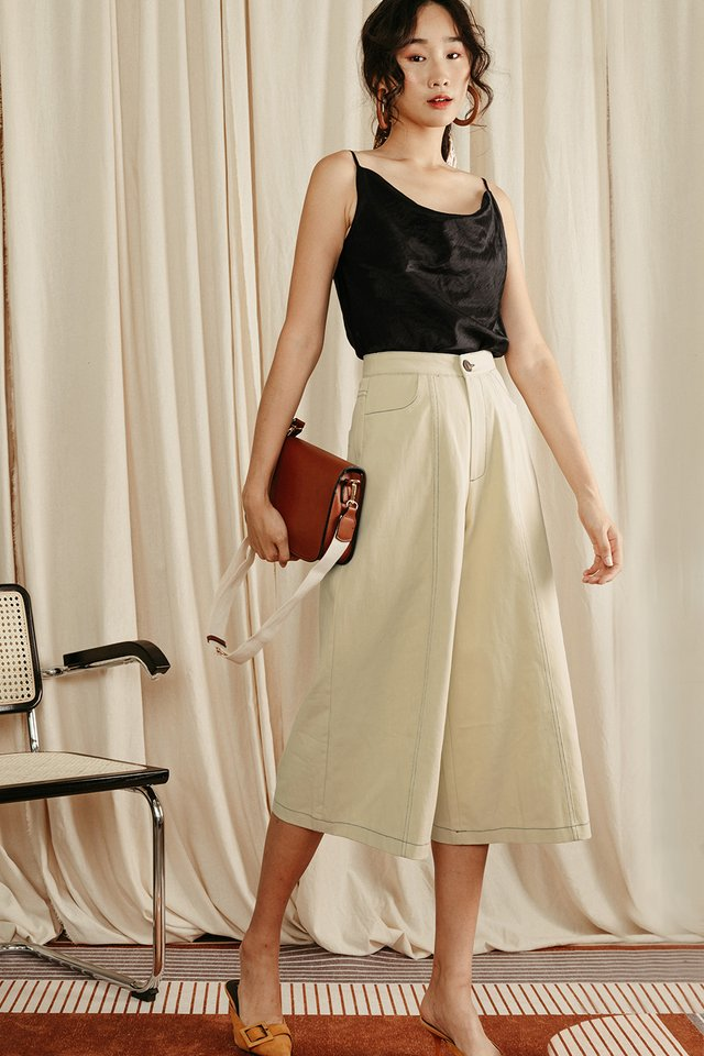 ISSEY CONTRAST STITCH PANTS IN CREAM