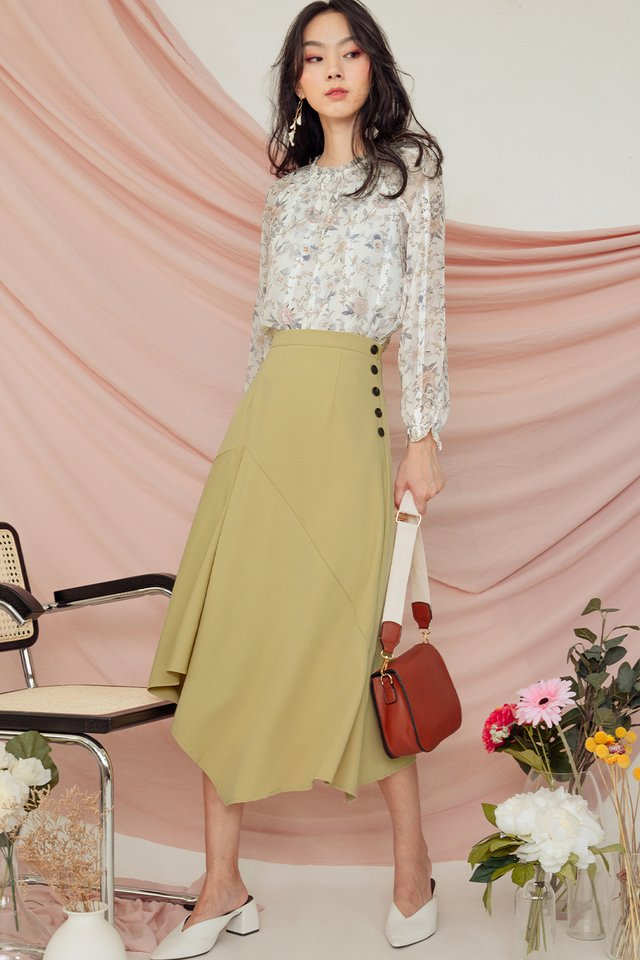MIRA BUTTON SKIRT IN MELLOW YELLOW