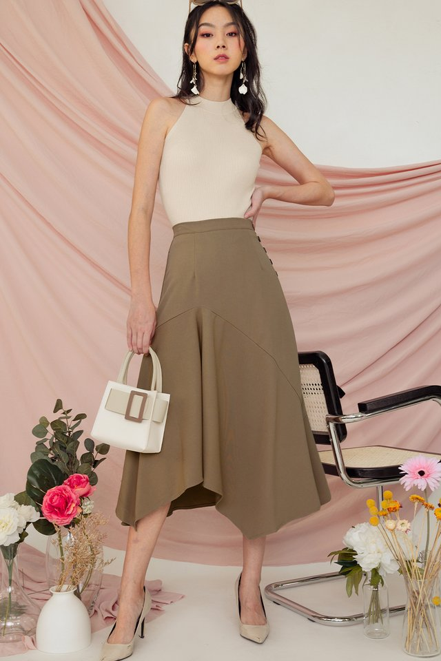 MIRA BUTTON SKIRT IN SAND