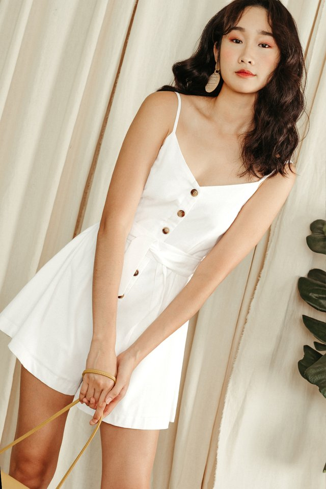 NATALIE BUTTON PLAYSUIT IN WHITE