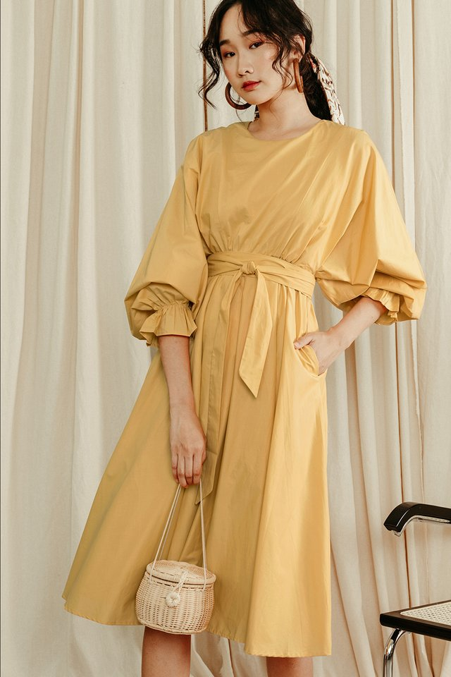 VALENTINA KAFTAN MIDI IN YELLOW