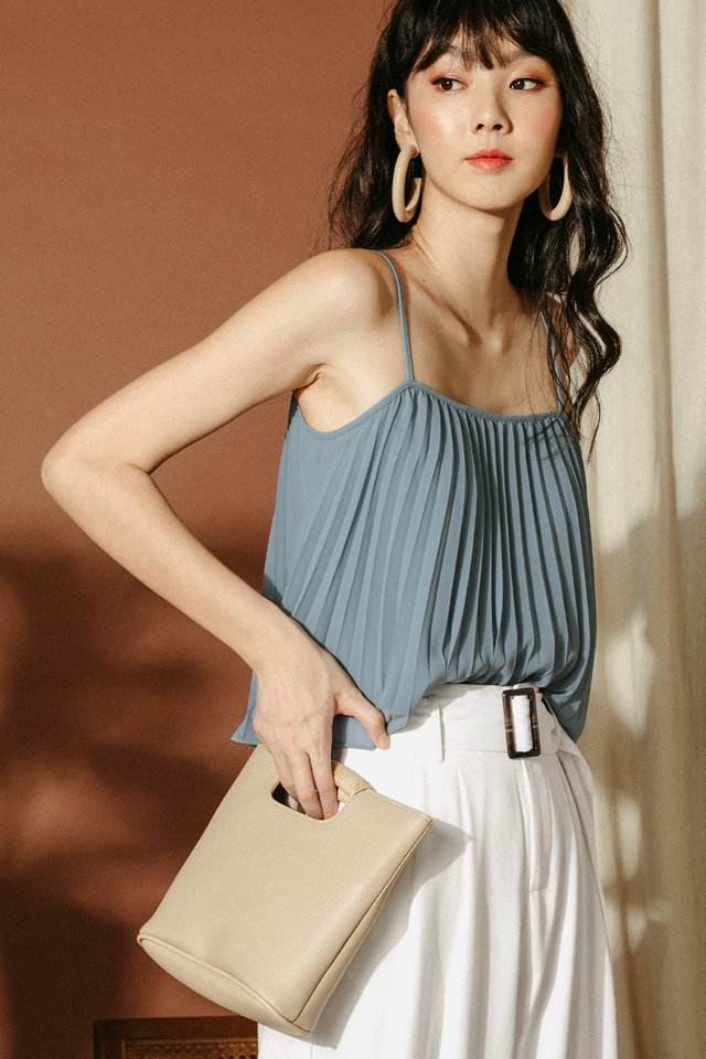 *BACKORDER* AUDELIA PLEAT TOP IN ASH BLUE