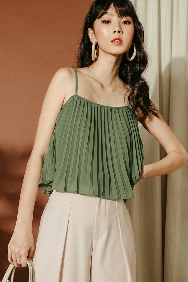 *RESTOCKED* AUDELIA PLEAT TOP IN PISTACHIO