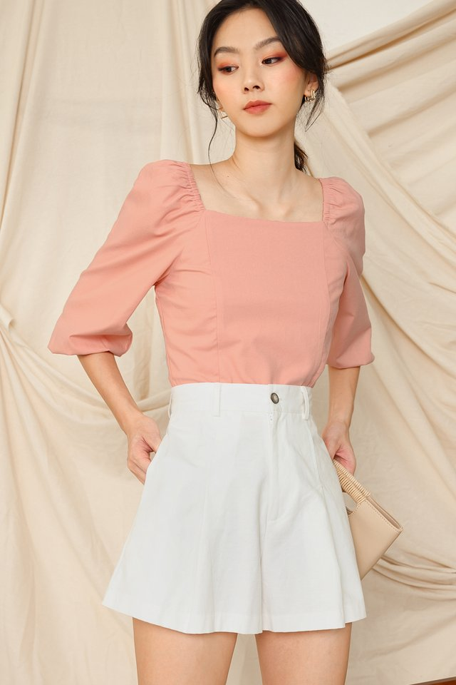 ISSA LINEN TOP IN PEACH PINK