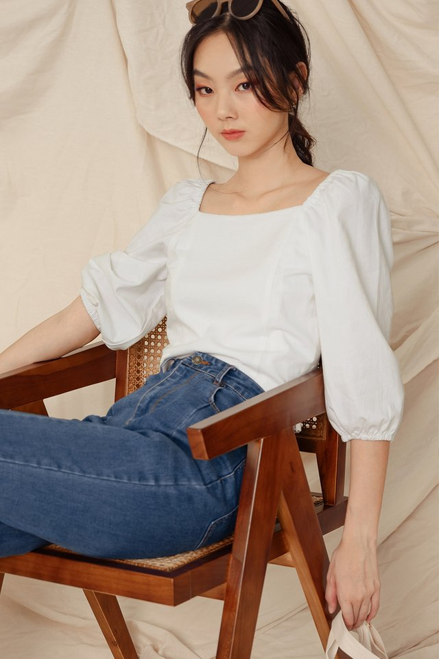 ISSA LINEN TOP IN WHITE (L & XL)