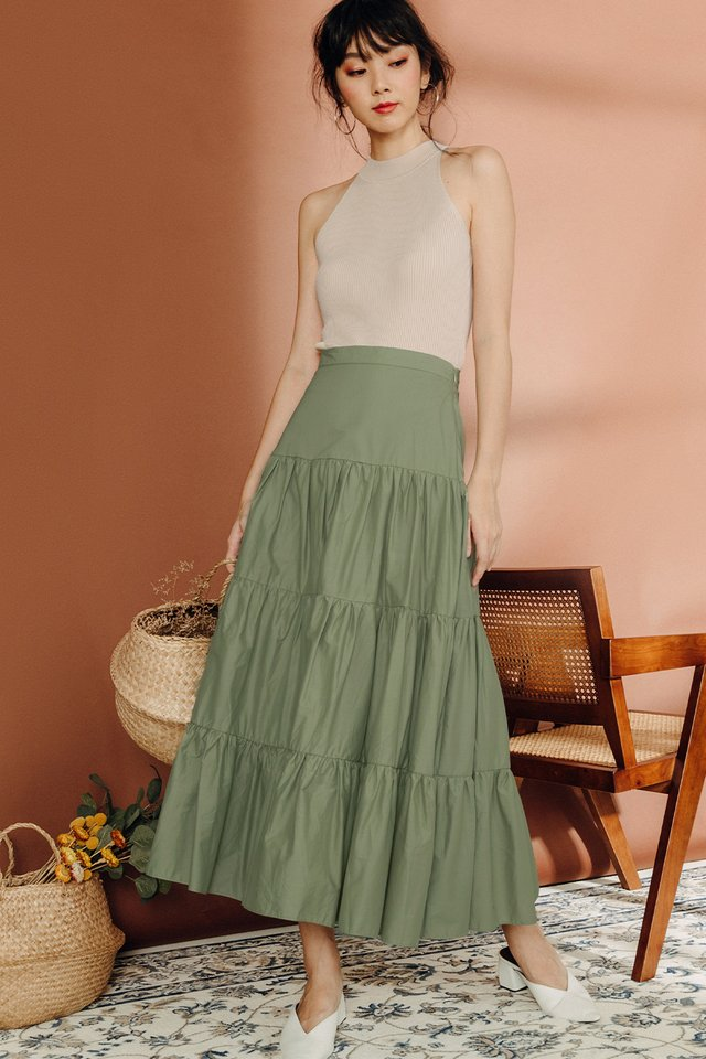 KAETON TIERED MAXI IN PISTACHIO