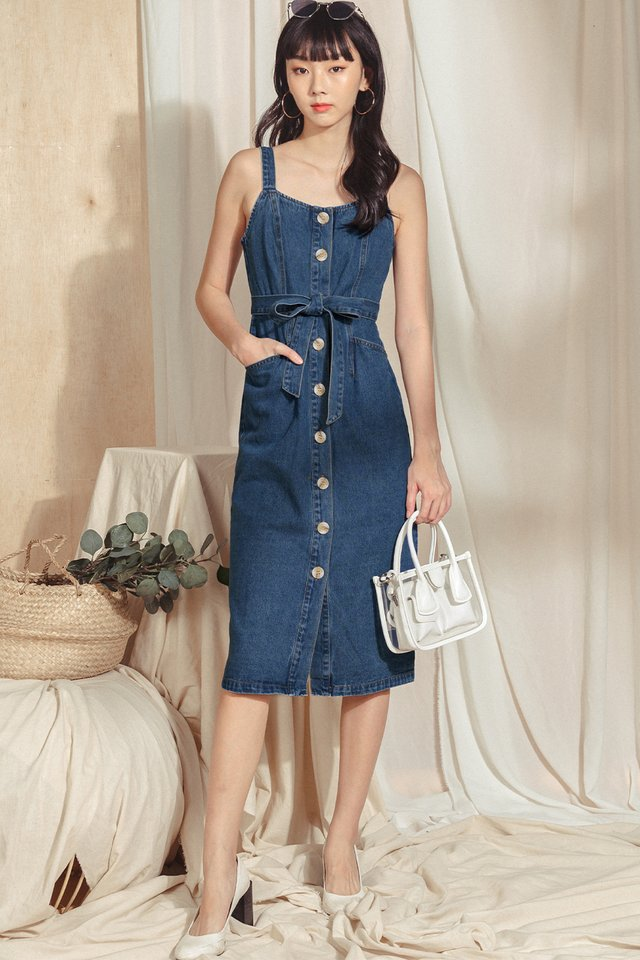 *RESTOCKED* HAZEL DENIM MIDI IN MID WASH