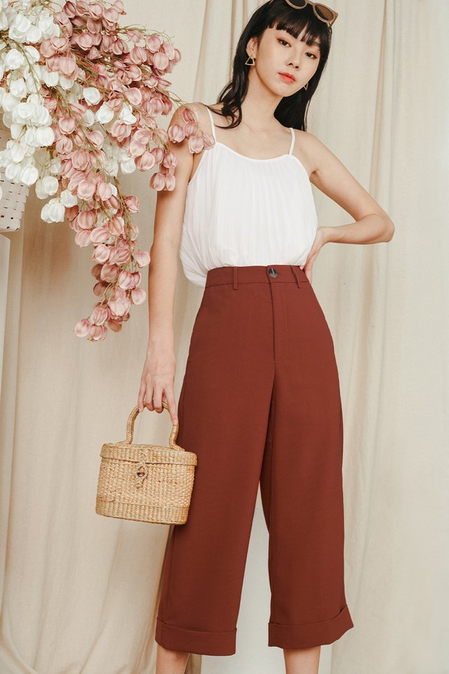KYNA CUFFED CULOTTES IN RUST BRICK