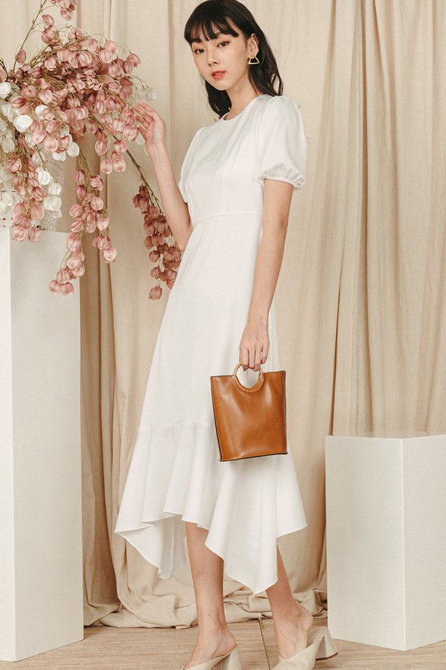 LANZO SATIN MIDI IN WHITE