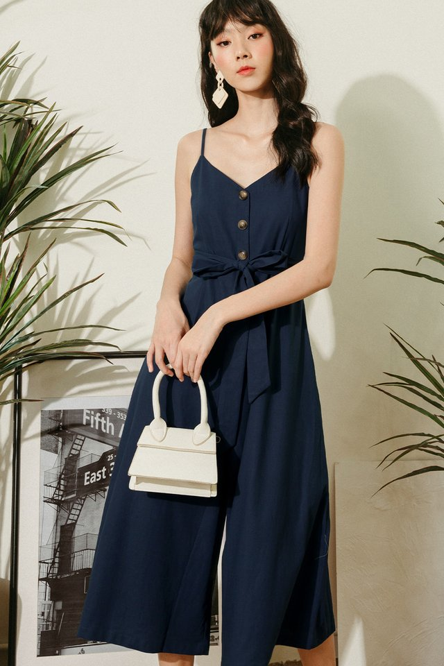 NATALIE SASH JUMPSUIT IN NAVY