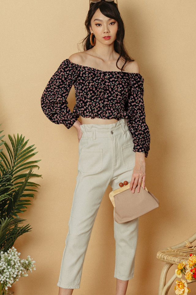 *RESTOCKED* BECCA PAPERBAG PANTS IN ECRU