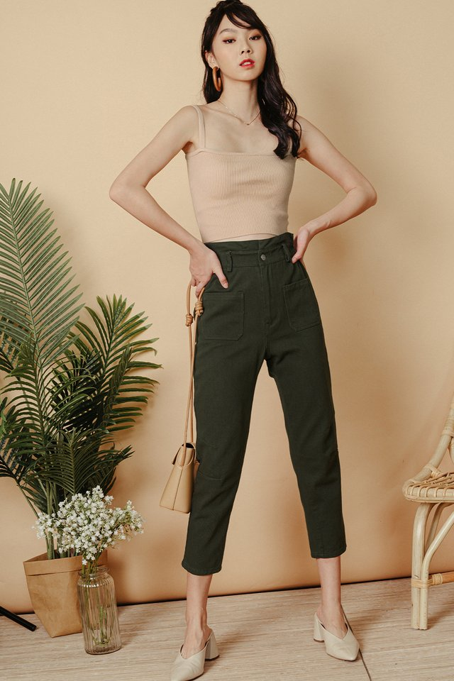 BECCA PAPERBAG PANTS IN MILITARY