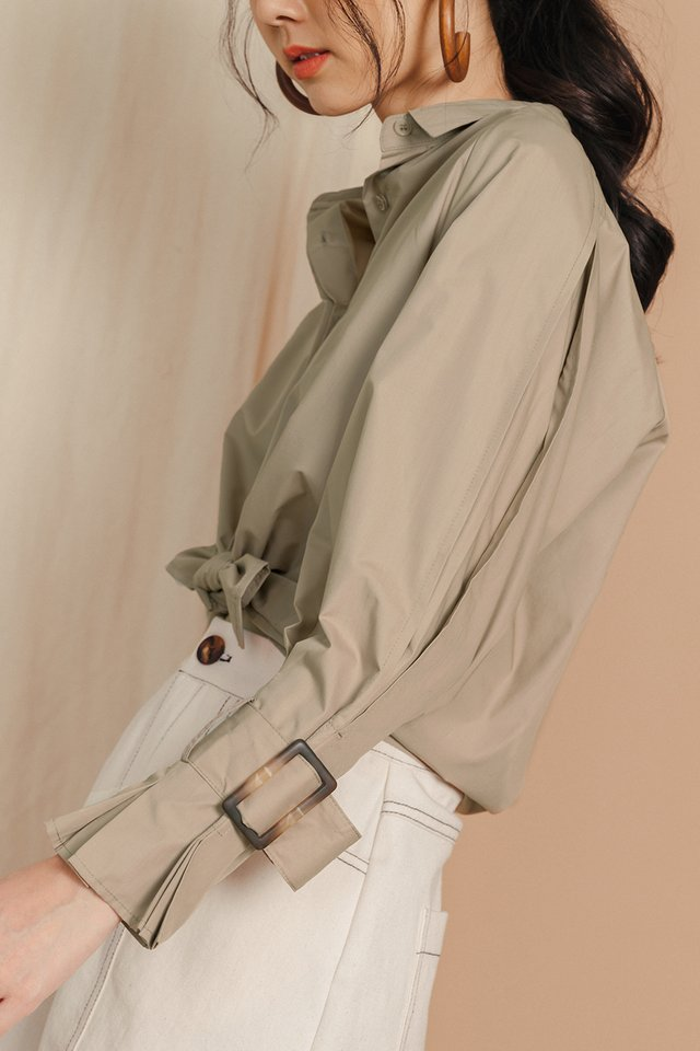 CLEMMIE BUCKLE SHIRT IN KHAKI