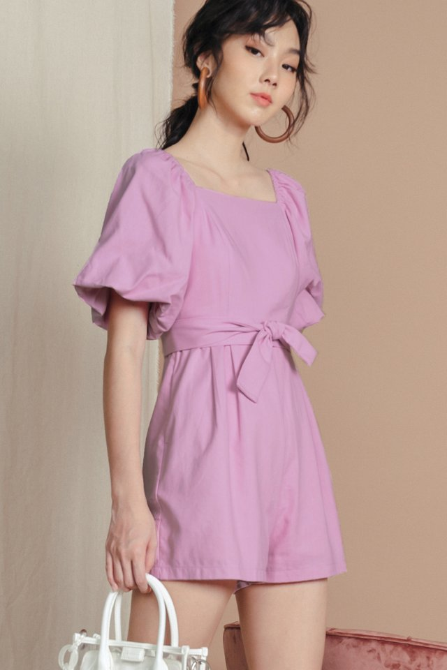 EMBER LINEN PLAYSUIT IN LILAC PINK