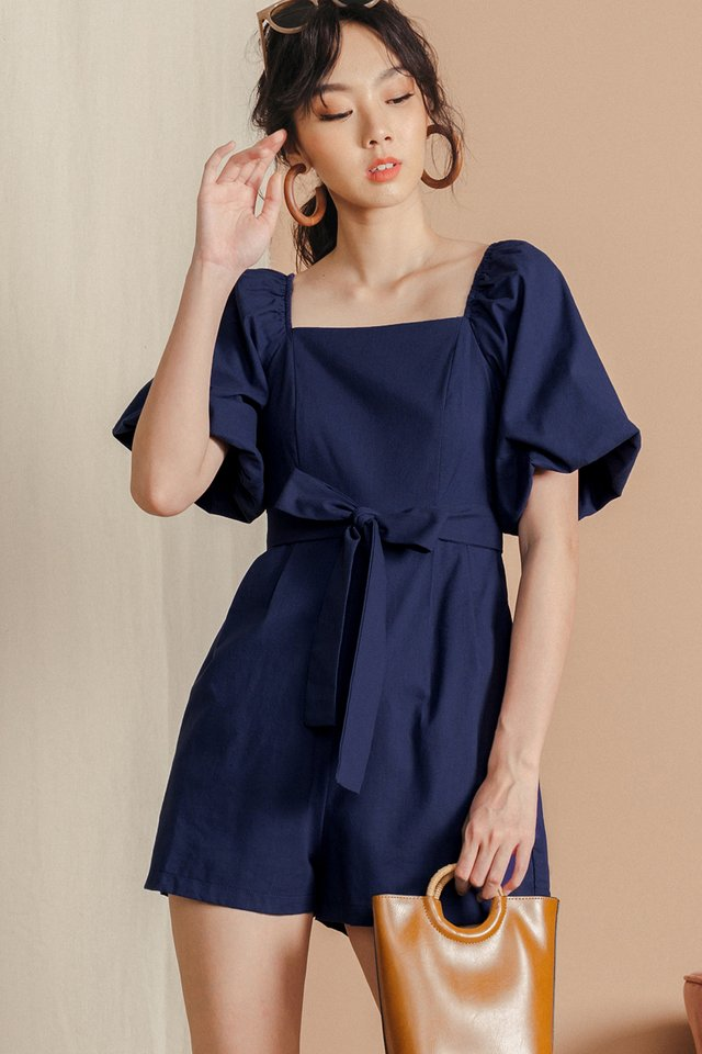 EMBER LINEN PLAYSUIT IN NAVY