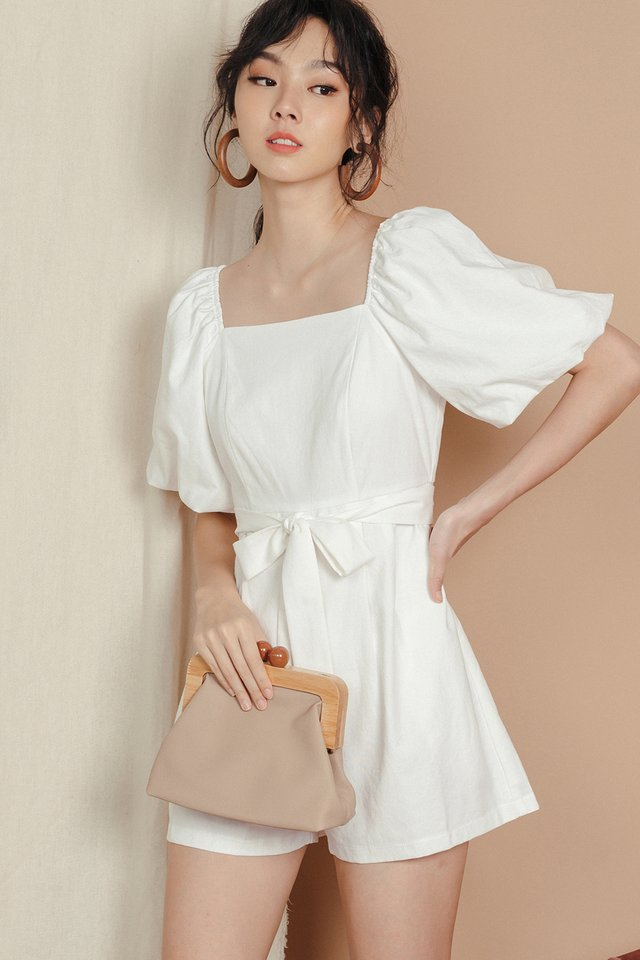 EMBER LINEN PLAYSUIT IN WHITE