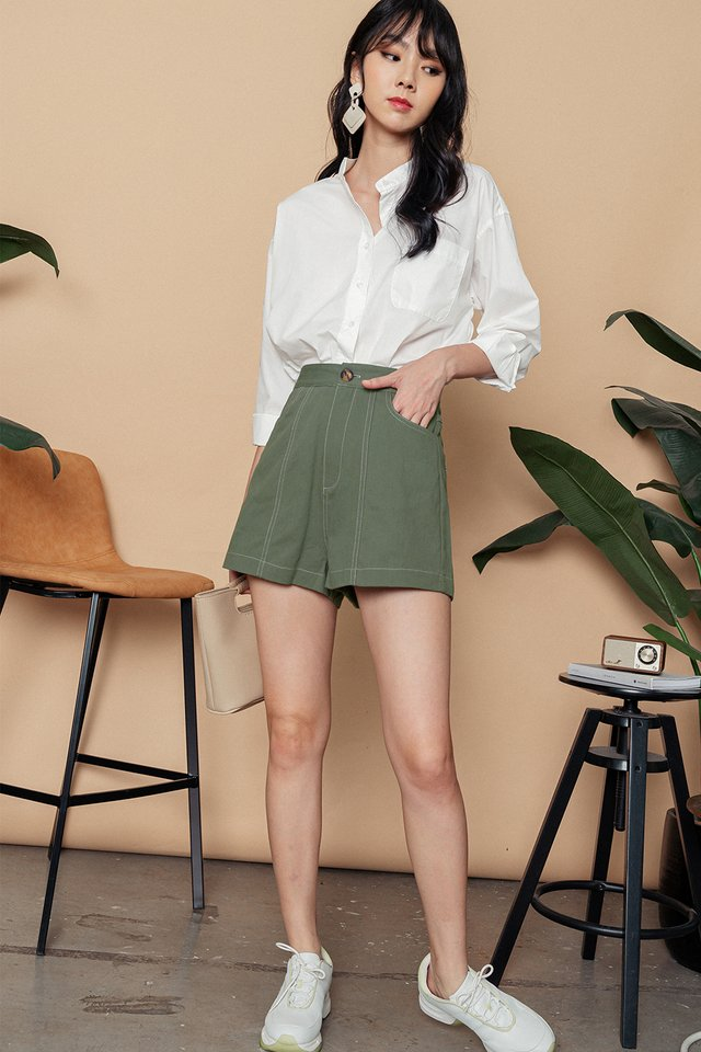 *BACKORDER* ISSEY CONTRAST STITCH SHORTS IN SAGE