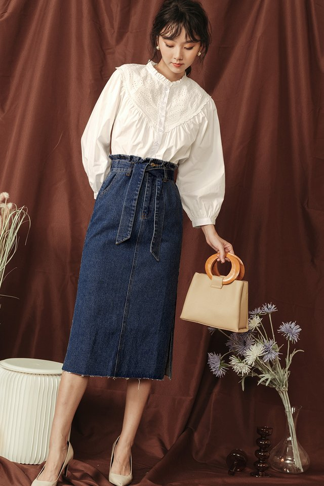ZEE PAPERBAG MIDI IN MID WASH