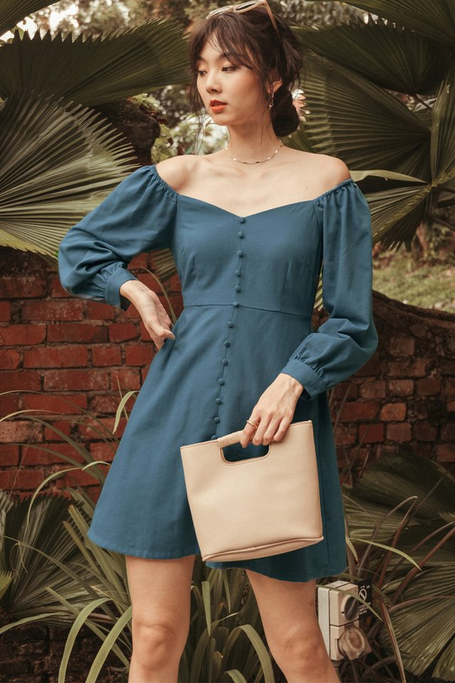 BRADLEY LINEN DRESS IN BLUE