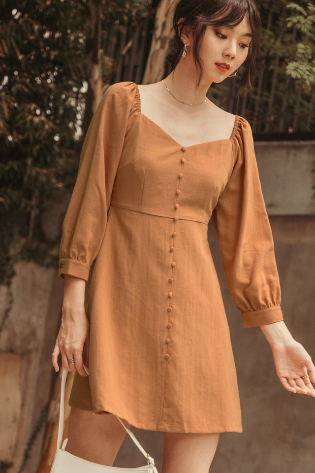BRADLEY LINEN DRESS IN SQUASH