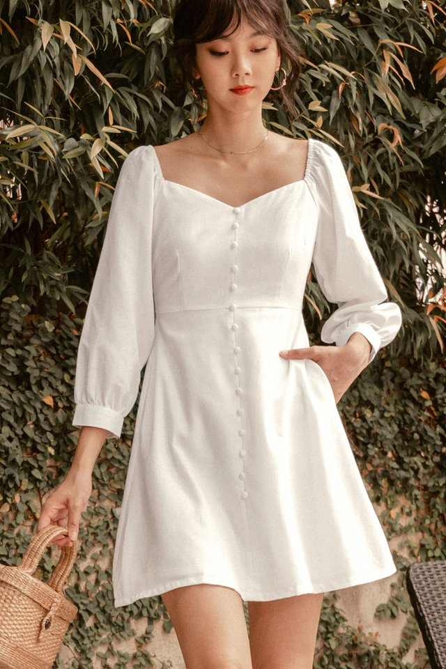 BRADLEY LINEN DRESS IN WHITE