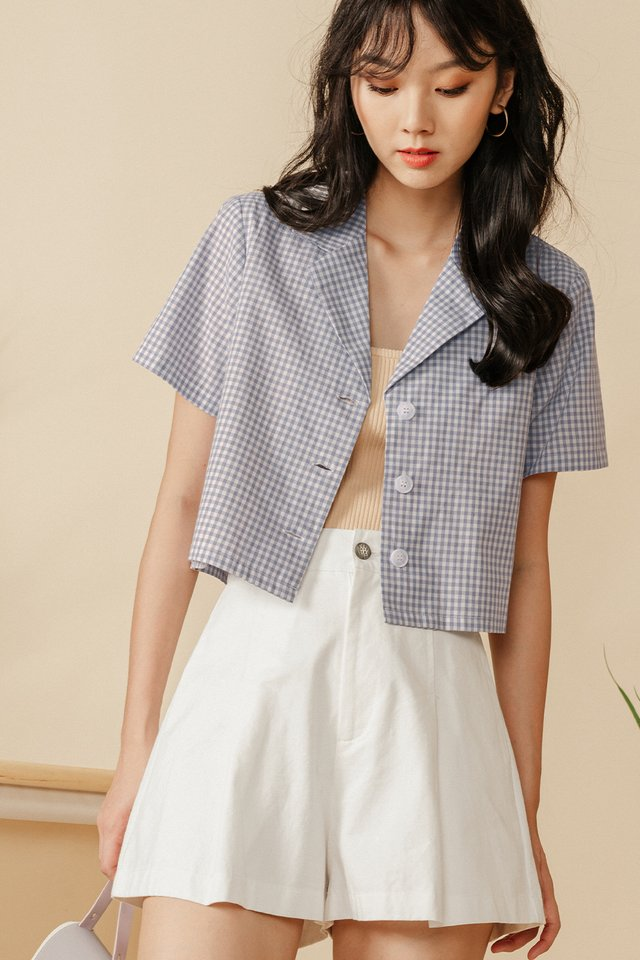 GILETTE GINGHAM TOP IN DUSK PERIWINKLE