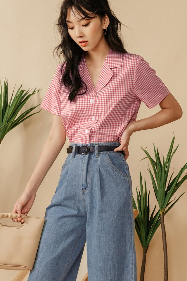 GILETTE GINGHAM TOP IN ROSE
