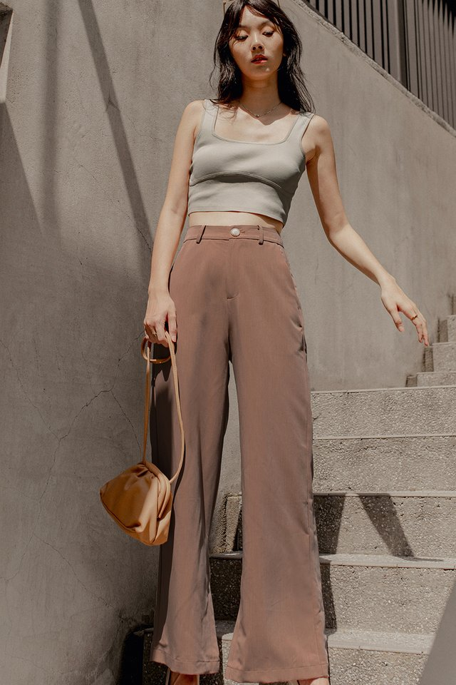LAYLA SLIT PANTS IN MOCHA
