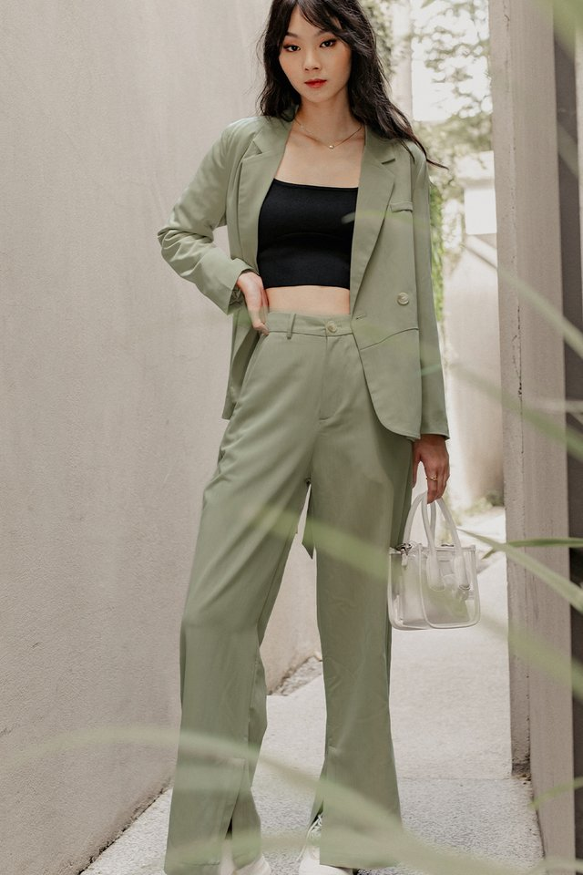 LAYLA SLIT PANTS IN SAGE