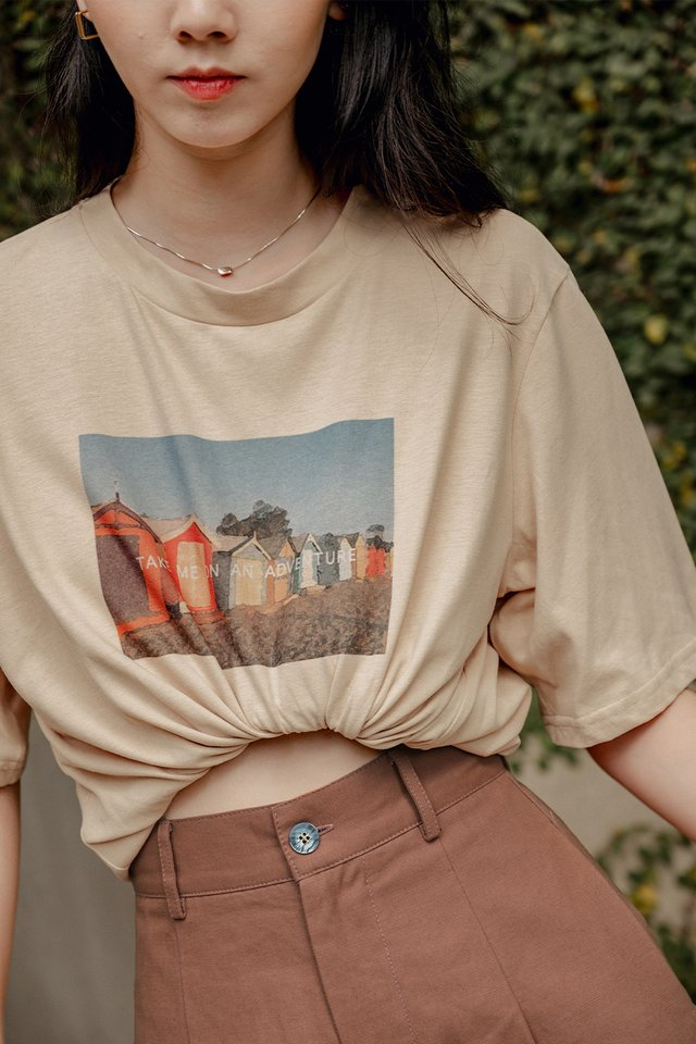 TAKE ME ON AN ADVENTURE TEE IN BEIGE