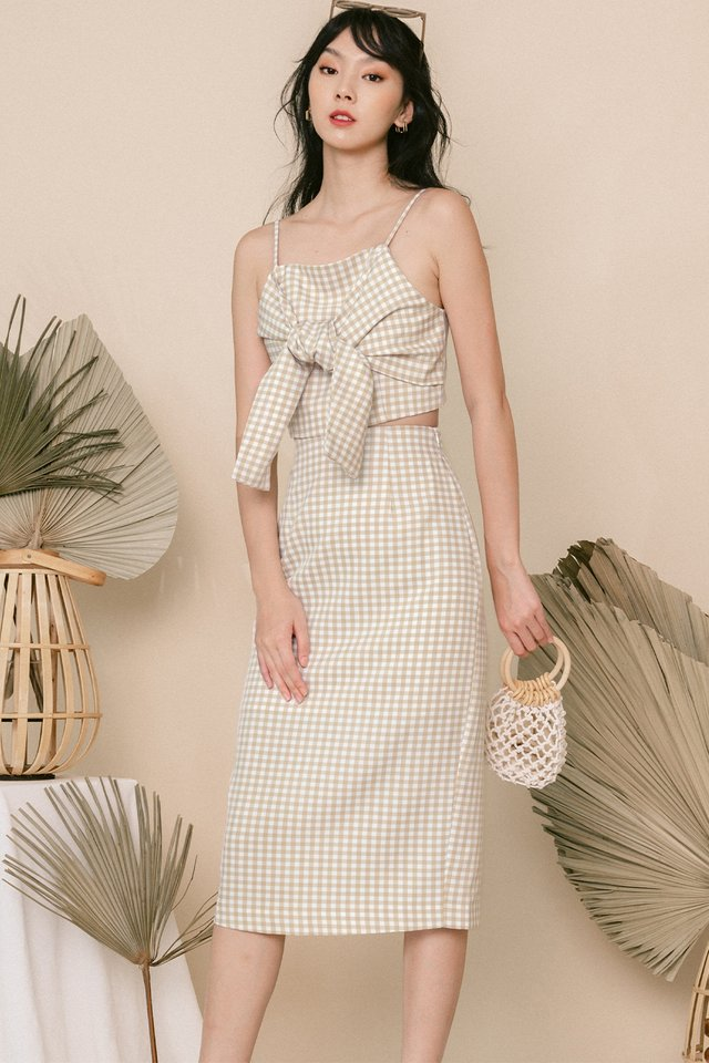 ADIE GINGHAM MIDI IN BEIGE