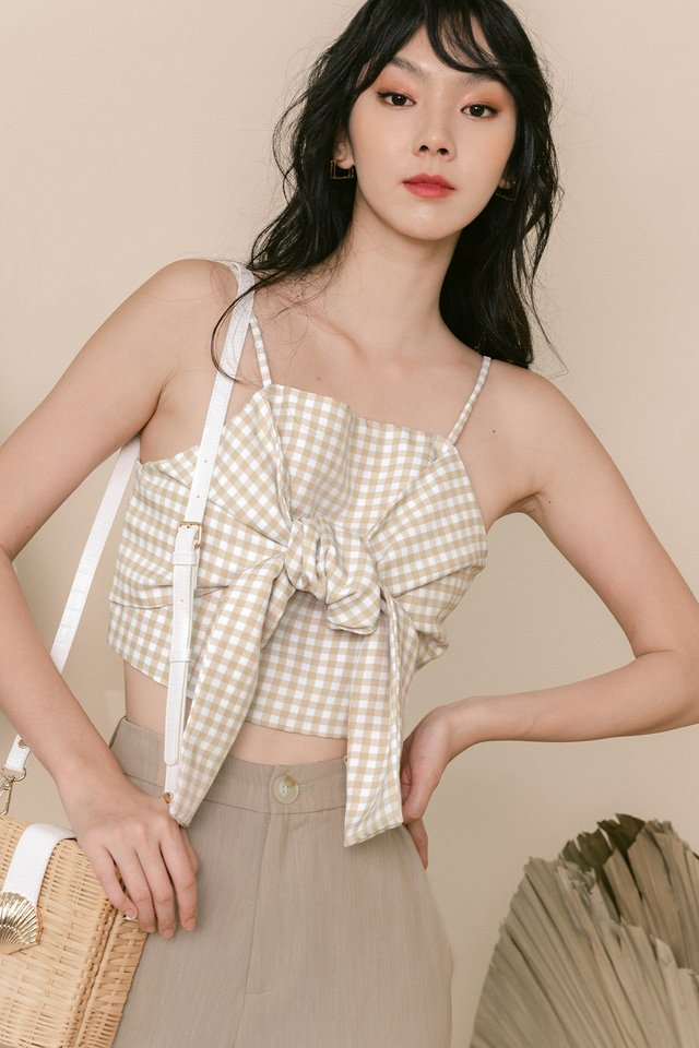 ADIE GINGHAM TIE TOP IN BEIGE