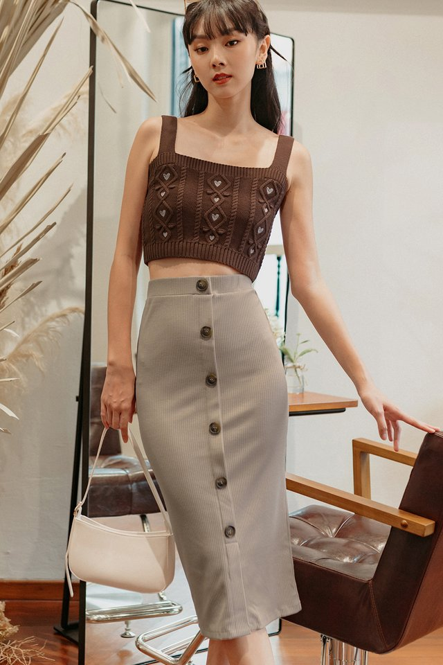 BILLIE RIBBED MIDI IN TAUPE