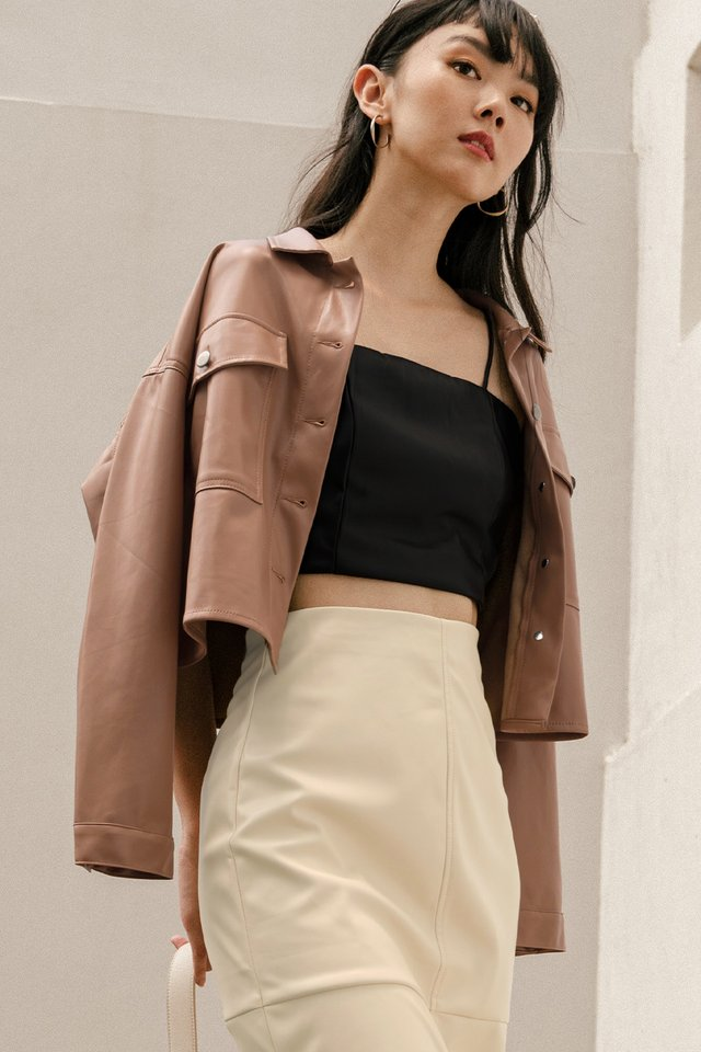 *RESTOCKED* BREA LEATHER JACKET IN CAMEL