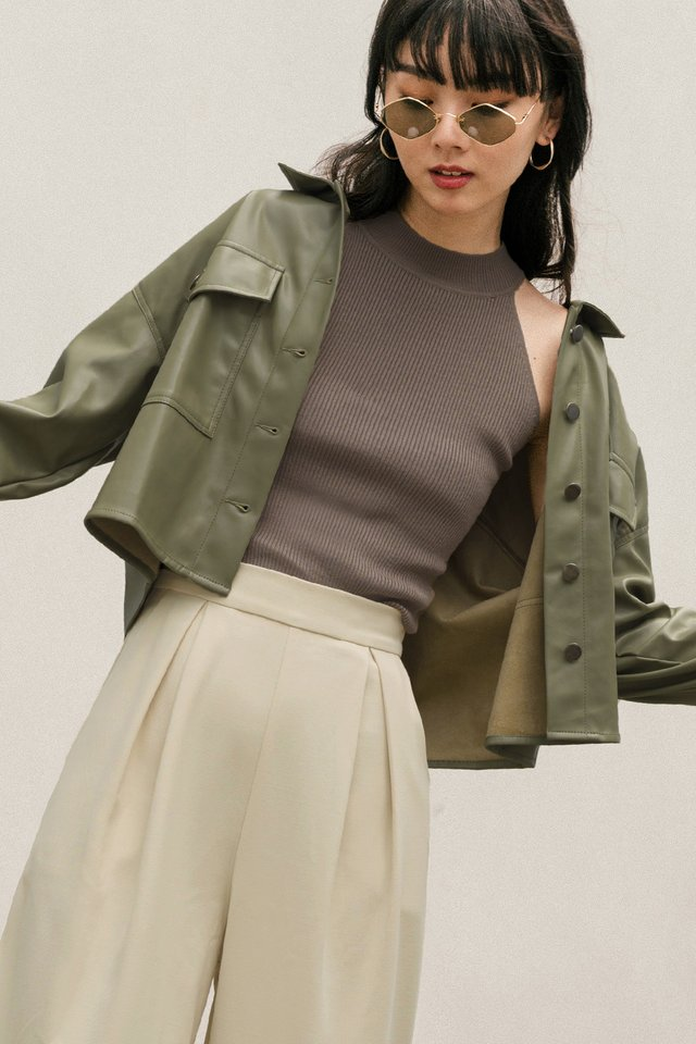 *RESTOCKED* BREA LEATHER JACKET IN SAGE