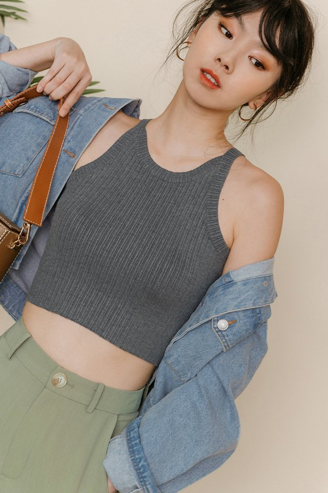BRUNO KNIT TOP IN GREY