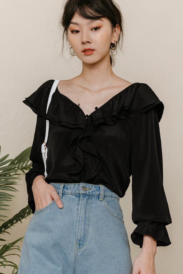 CARA RUFFLE TOP IN BLACK