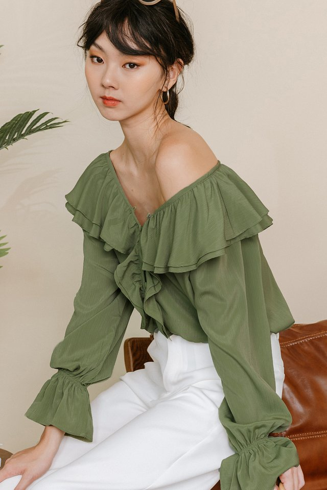 CARA RUFFLE TOP IN PISTACHIO