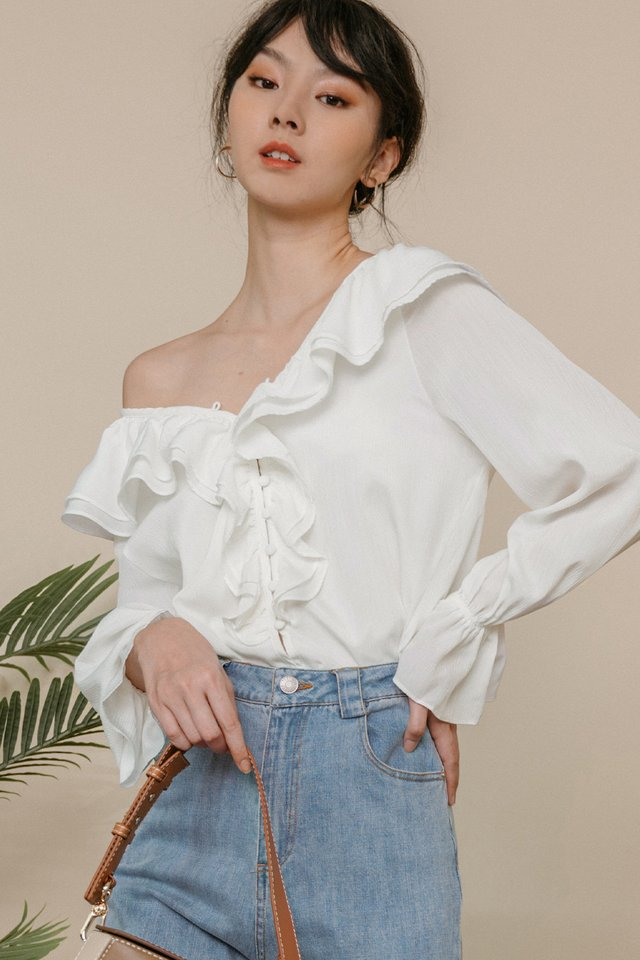 *BACKORDER* CARA RUFFLE TOP IN WHITE (XS-M)