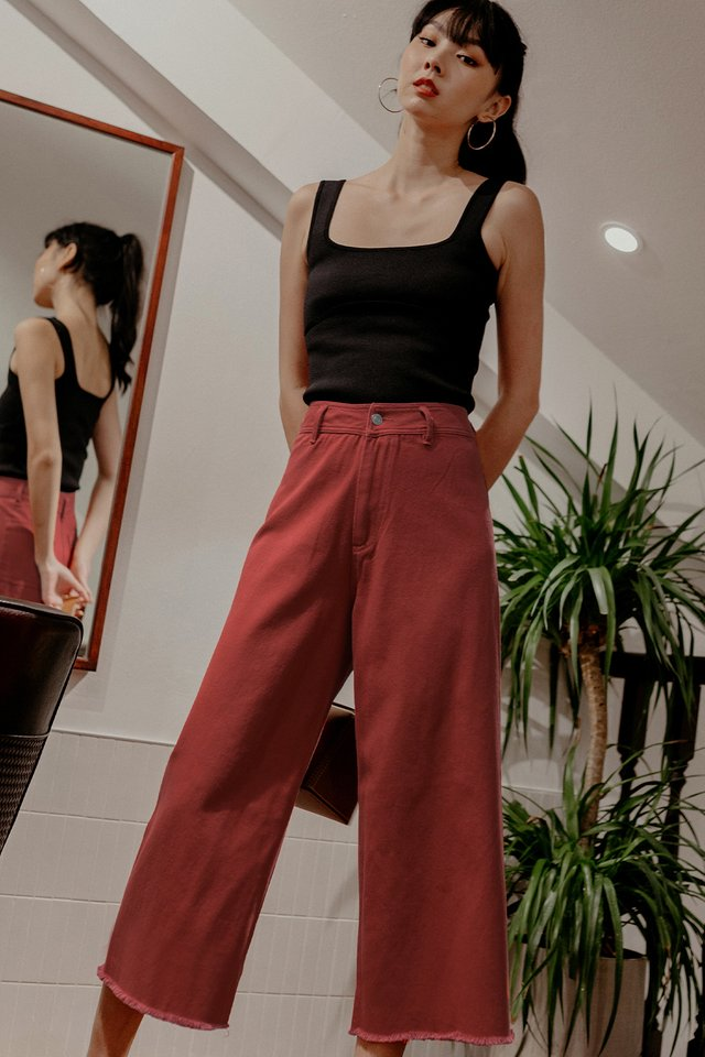 KYLE DENIM CULOTTES IN ROSE RED