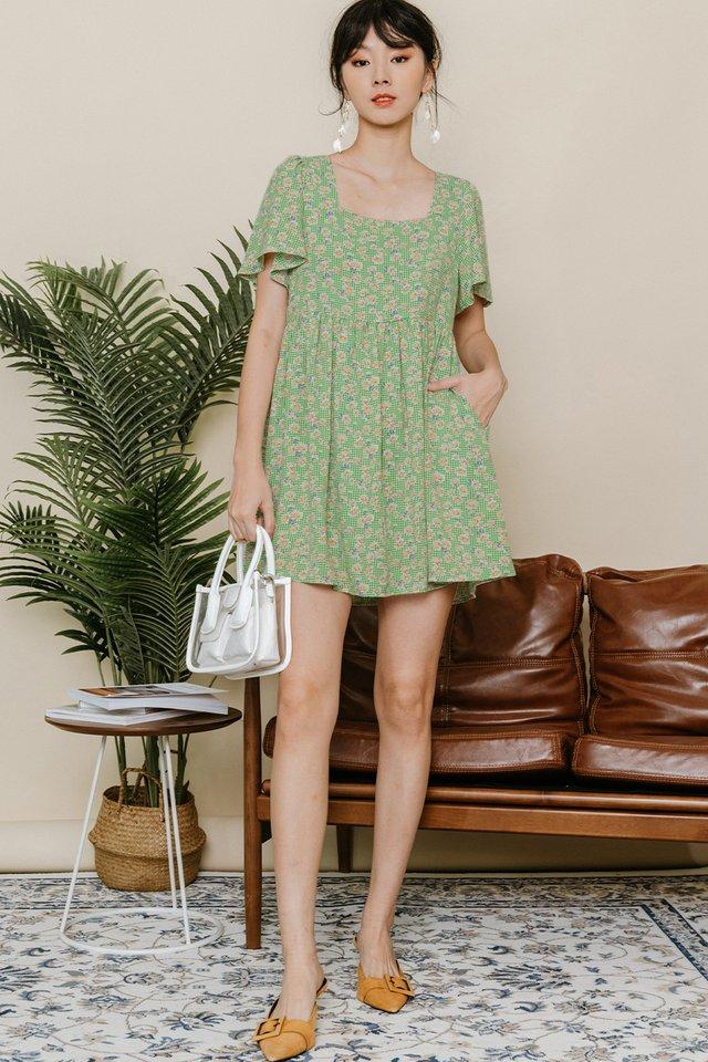 LINDIE PLAYSUIT DRESS IN GREEN