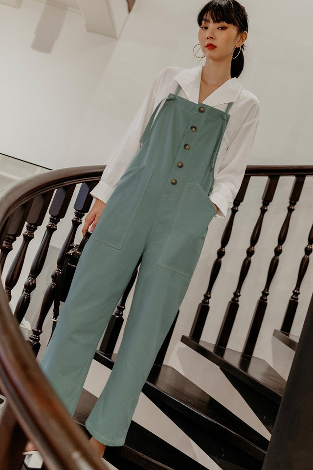 LOFT OVERALLS JUMPSUIT IN SEAFOAM BLUE