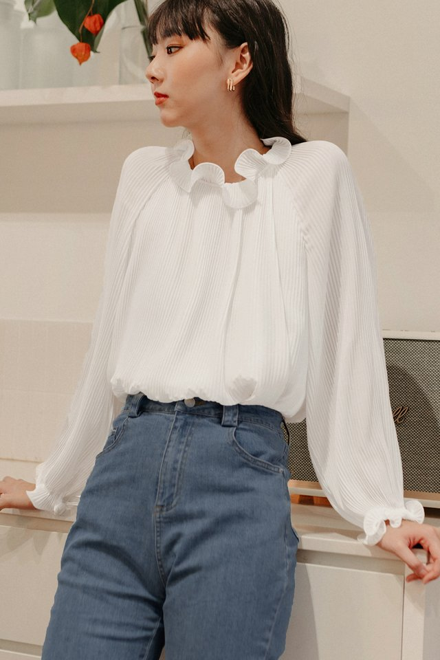*BACKORDER* MORGAN PLEAT TOP IN WHITE (XS - M)