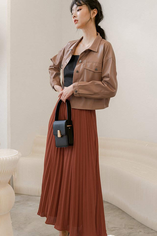 AUDELIA PLEAT PANTS IN RUST BRICK