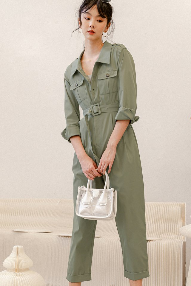 BENTLEY UTILITY JUMPSUIT IN SAGE