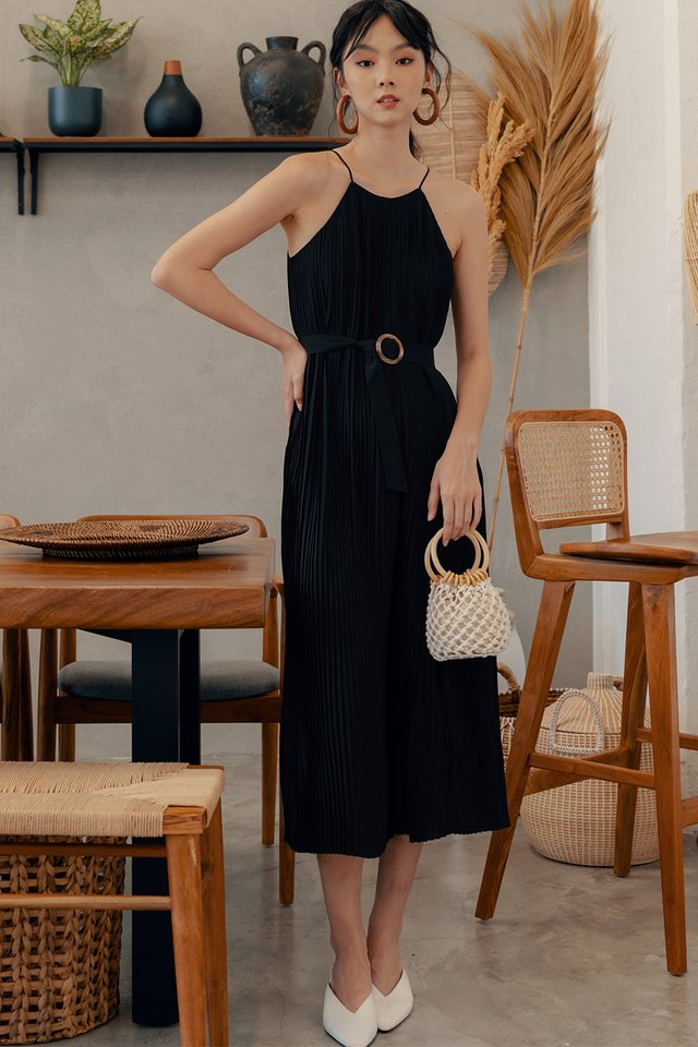 *BACKORDER* COLETTE PLEAT JUMPSUIT IN BLACK