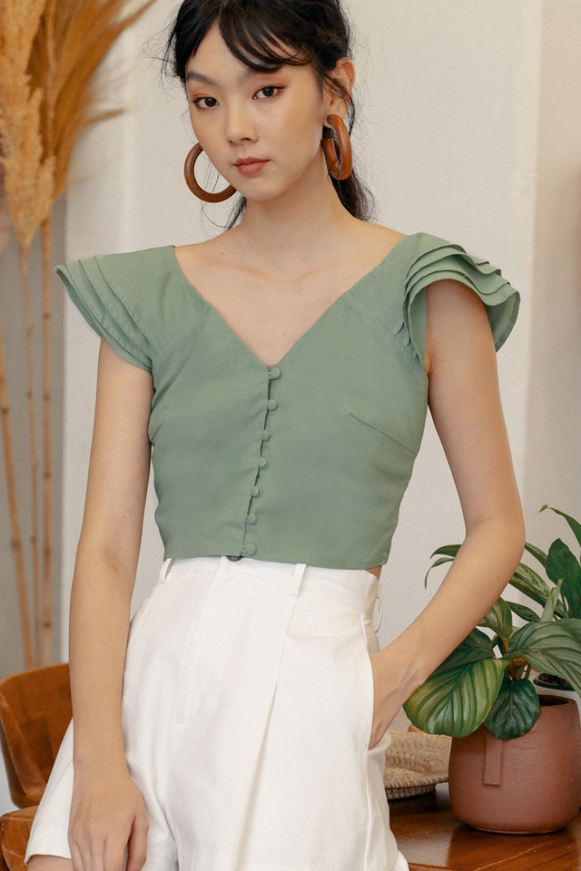 GAIL RUFFLE TOP IN PISTACHIO