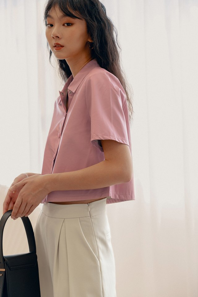 LEATHER BOXY TOP IN PINK